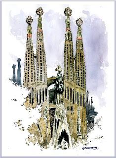 Temple de la Sagrada Família, 2010 (aquarel·la d'Antoni Colomer)