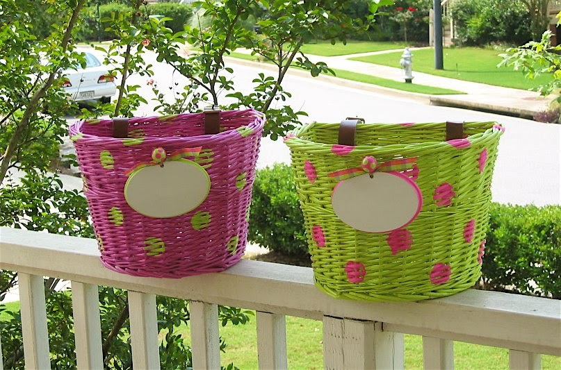 pink preppy party girl  a tisket a tasket   a pink and green preppy bicycle basket