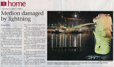 Merlion Singapore Lightning Picture on Singapore Newspaper Clippings  March 2009