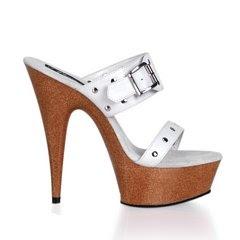 5 3/4 Inches Stiletto Heel Faux Wood Platform Slide W/Straps