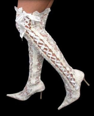 Sexy white wedding highheel overknee lace boots