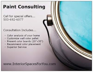 Interior Spaces paint consulting offers color analysis of your home, wall color pallet, and more.