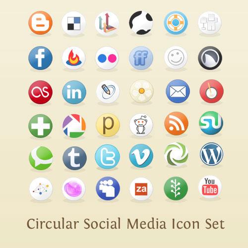 Circular Social Media Icon Set