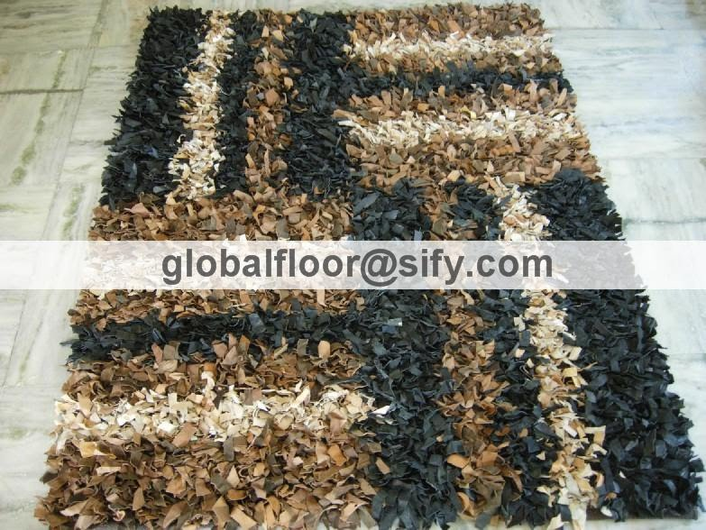 Leather Carpets India Napa Leather Shaggy Rugs India