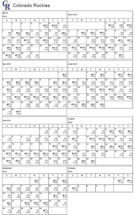 Printable 2010 Colorado Rockies Schedule!