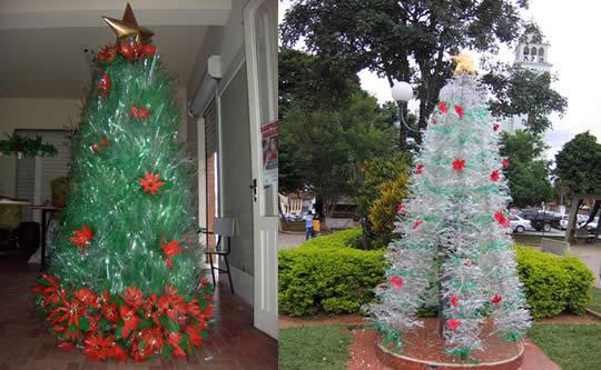 Artesanato: Árvore de Natal de Garrafa Pet - 01