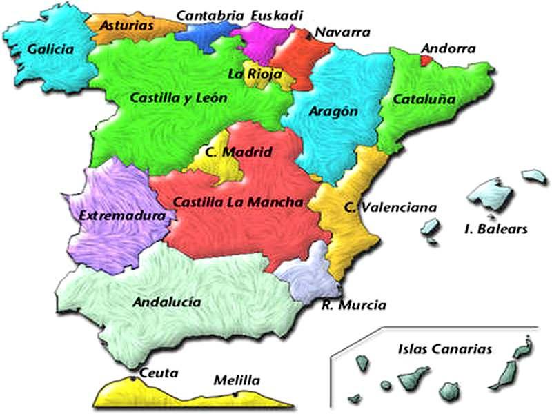 Mapa De Espaa Con Sus Ciudades