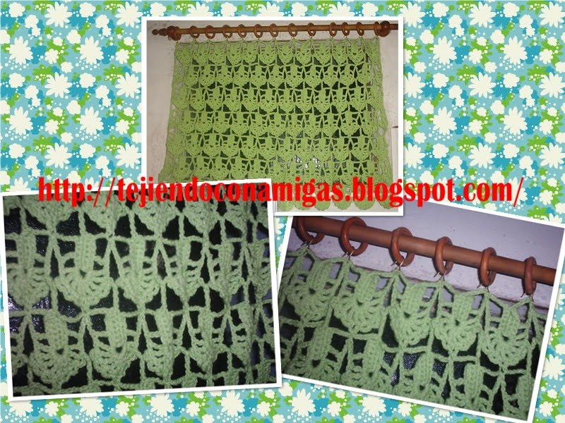 Tejiendo con amigas cortina crochet para la cocina for Cortinas de gancho para cocina