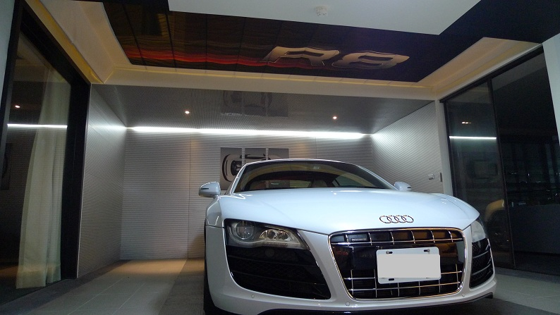 the coolest audi garage we 39 ve ever seen. Black Bedroom Furniture Sets. Home Design Ideas