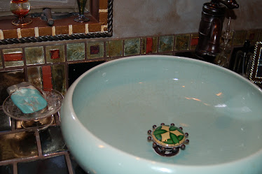 My 5th remodel bathroom design using artistic tiles & crackle green ceramic sink bowl w/cloissone