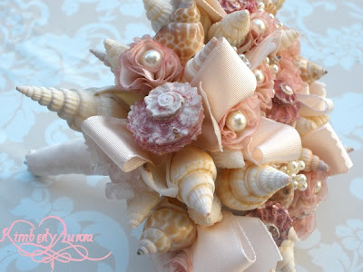 Or this beautiful bouquet of ribbon and sea shells