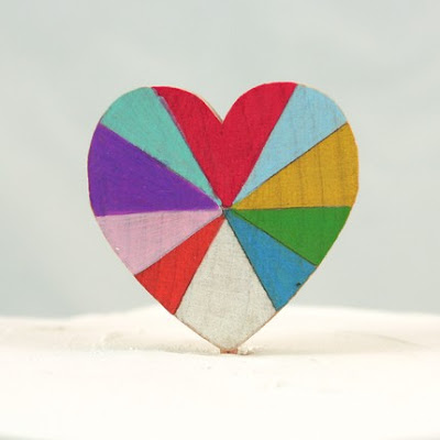 wooden rainbow cake topper