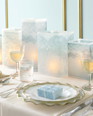 lace wedding luminaries These simple square lace luminaries are beautiful
