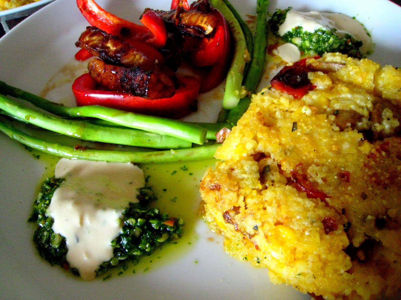 ... by the Skinny Gourmand: Maple Grilled Tempeh and Cheddar Corn Polenta