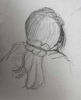 pencil sketch child head and shoulders