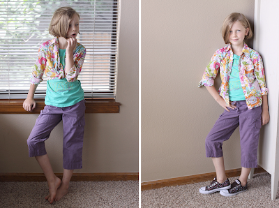 Despite her slutty poses, purple cargos are fitting for young girls under the age of 10.