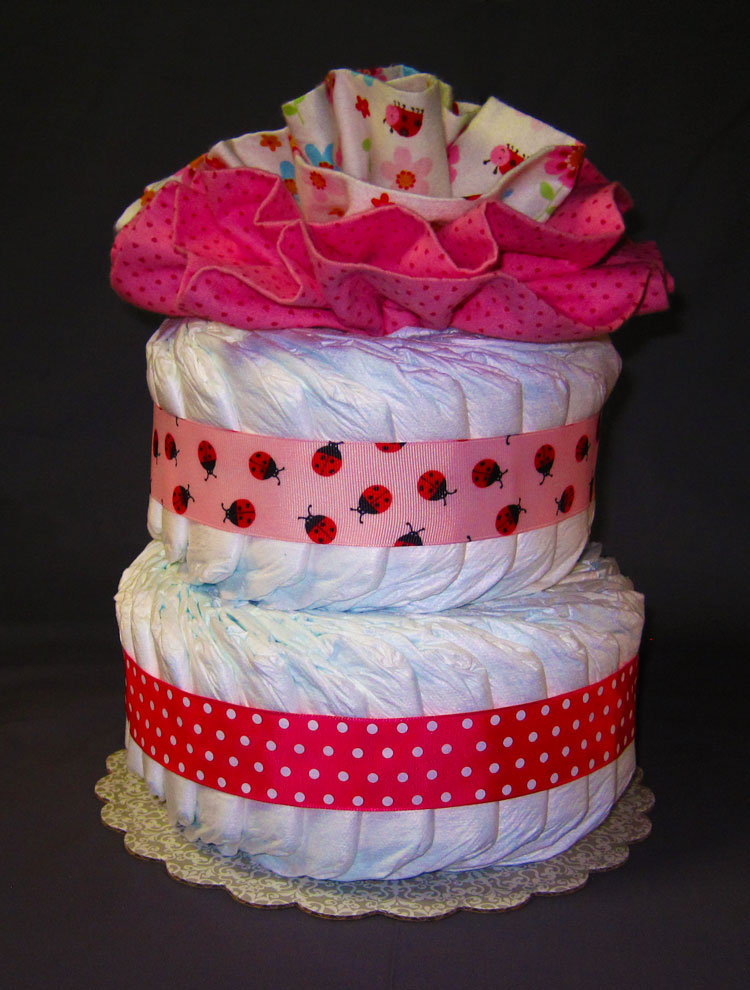 Little Lady Bug Large 2 Tier SGD Diaper Cake