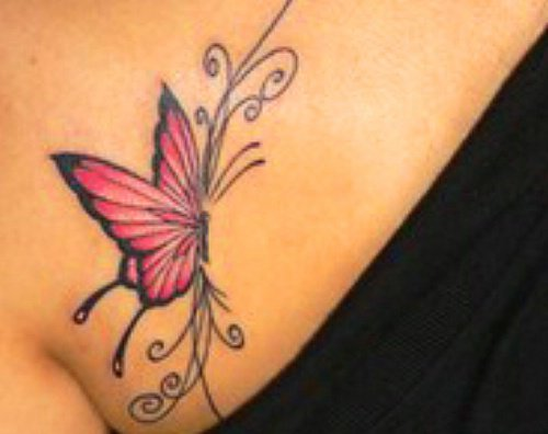 red butterfly - chest piece tattoo