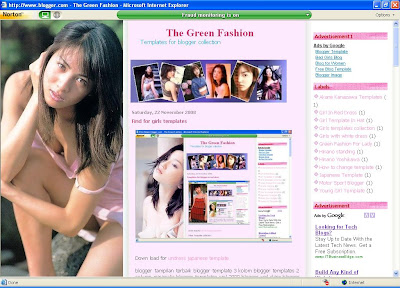 The Green Fashion For Blogger Template: Girl In Long Hair Template