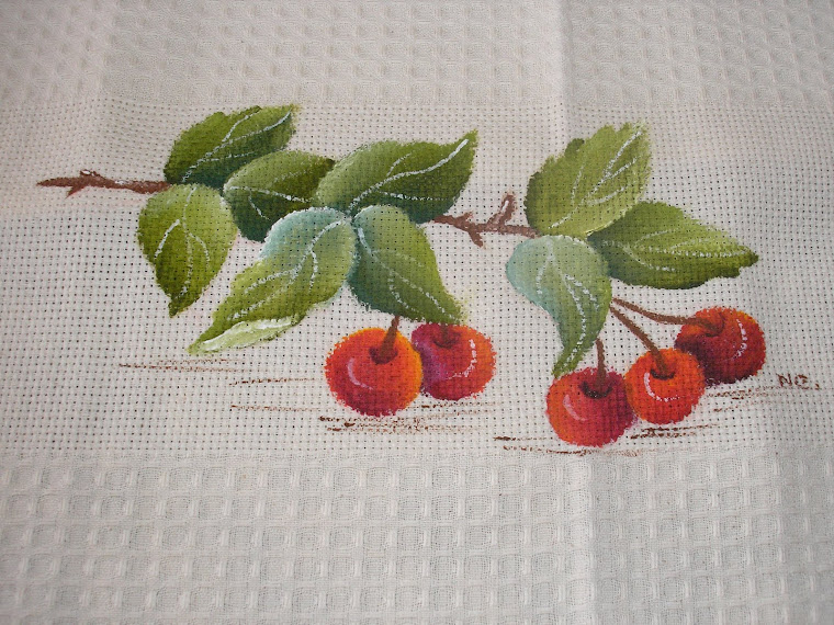 Pano de loiça com cerejas