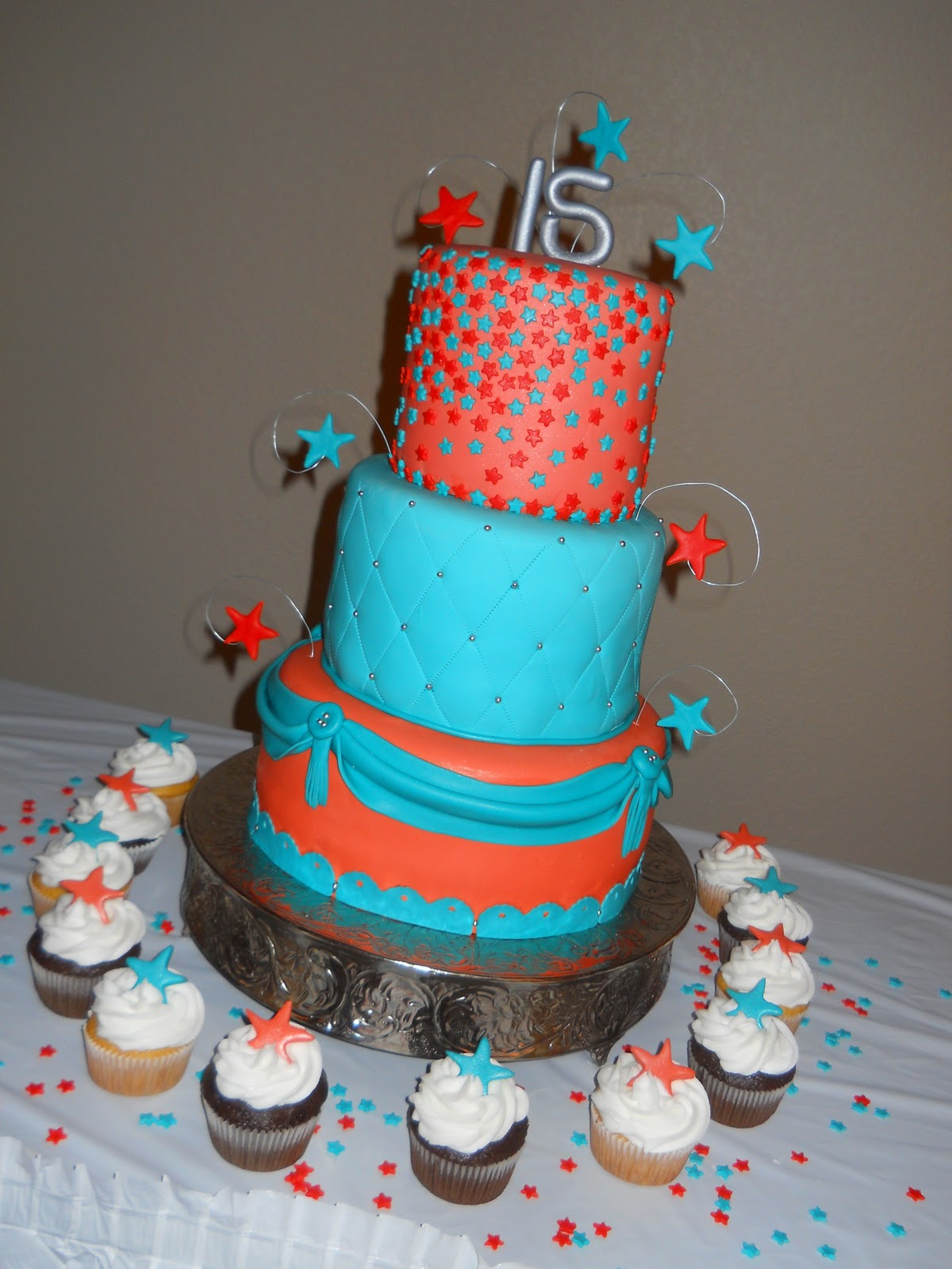 Orange and Aqua Wedding Cake http://www.sophiascakecreations.com/2010/12/orange-turquoise-quincenera-cake.html