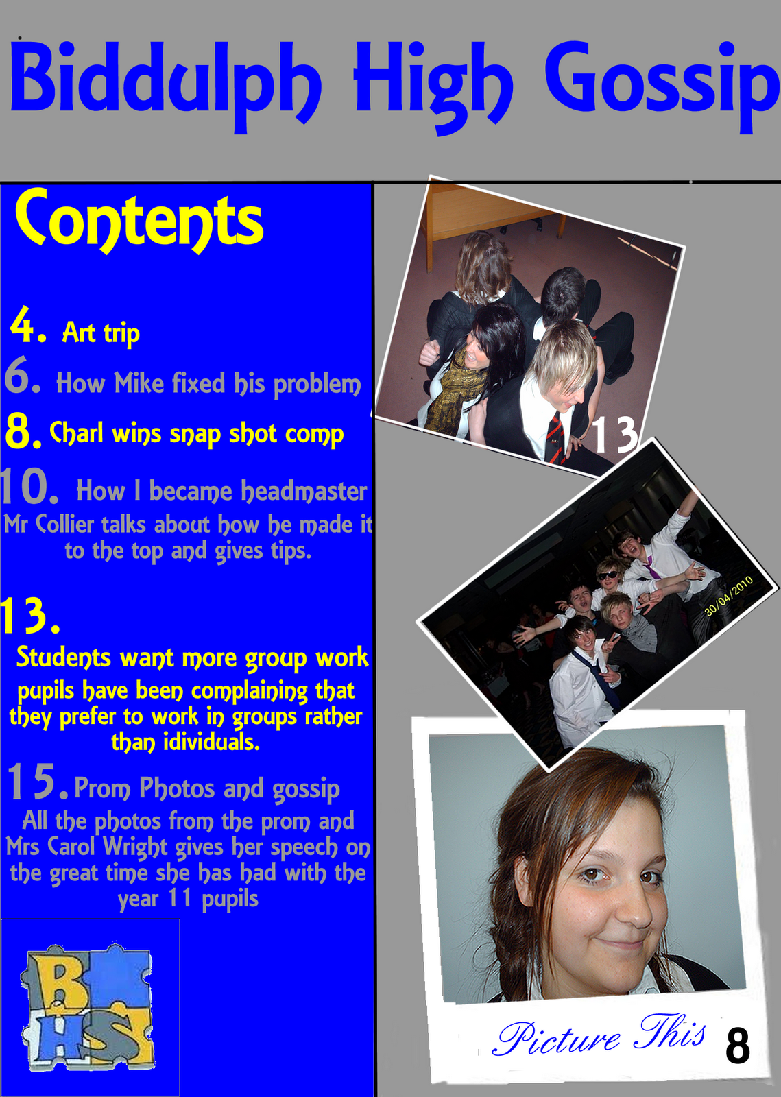 Magazine Content Page School