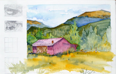 Watercolor and ink Plein Air Sketch, 'Red Barn September' by Steve Penberthy