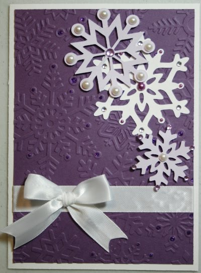 New Year 39s Shaker Card Purple Snowflakes