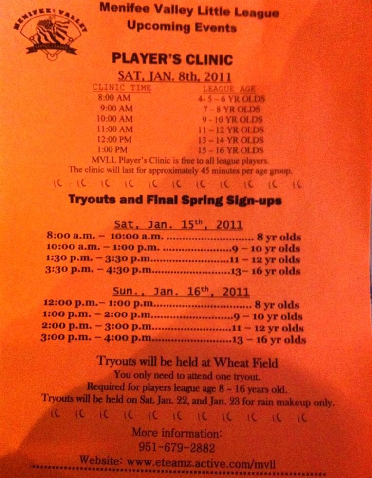 Menifee Valley Little League Tryouts