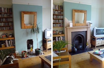 Sitting room fireplace: Before & After