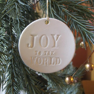Paloma's Nest: JOY TO THE WORLD round text tile ornament