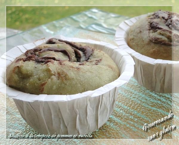 Muffins à la compote de pommes et nutella, sans gluten