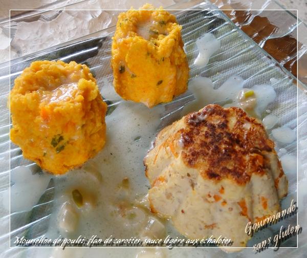 Mousseline de poulet, flan de carottes, sauce légère aux échalotes