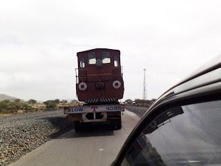 train engine on truck