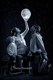 Fototöötlus kuu, tähed ja helendav planeet