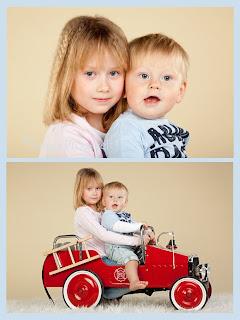 Laste portree, poiss tuletõrjeautoga. Fotostuudio Tallinnas
