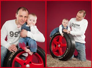 Beebi ja isa autorehviga. Fotostuudio  Fotopesa Tallinnas