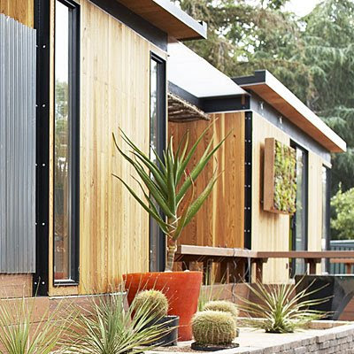 modern prefab cottage planting