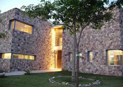 Stone wall of home design