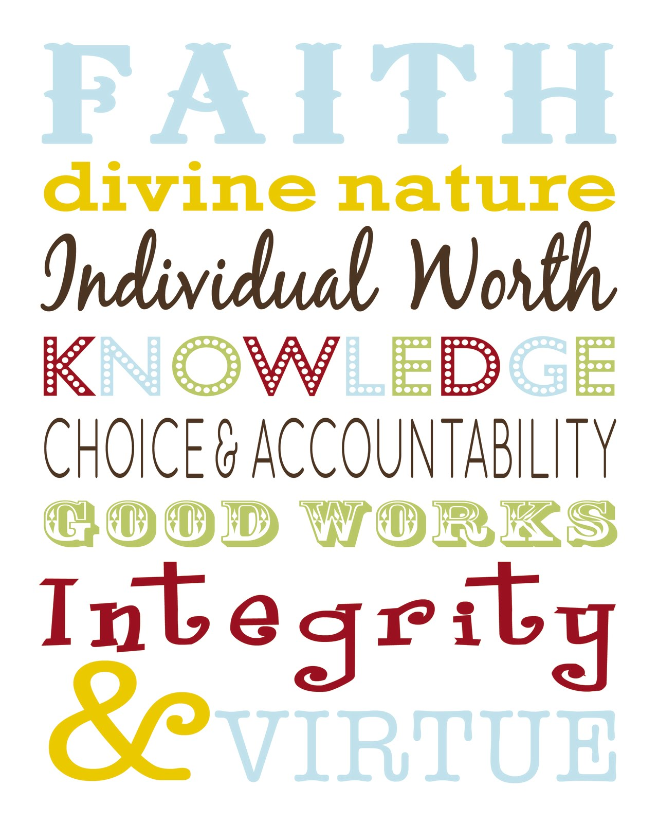 k leigh cards: lds young women values