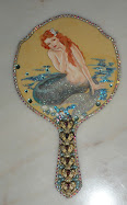 Demure Mermaid on Vintage Hand-mirror