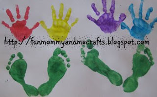 Hand Print Flower Footprint art Mothers Day gift from kids Toddler painting