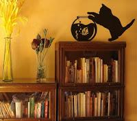 Adesivo de parede com tema Gato e Aquário
