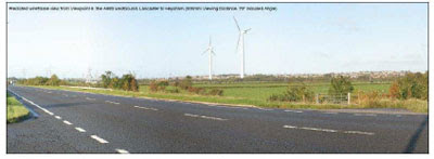 Wireframe image of how the proposed turbines might look from the A683 westbound, taken from the submitted plans
