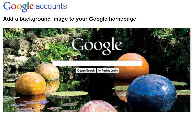 how to change your google homepage background