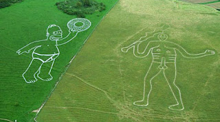 Giant Homer Simpson chalk man Cerne Abbas Giant
