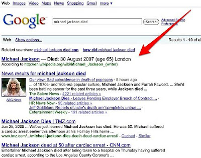 Google Michael Jackson Died results