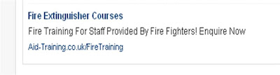 Google ad for Fire Extinguisher courses