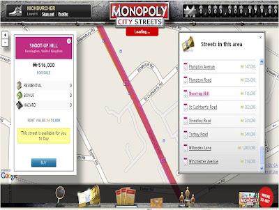 Monopoly City Streets Shoot Up Hill
