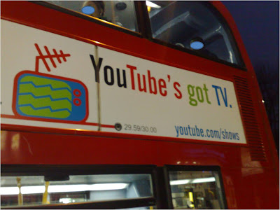 YouTube TV advertising on London bus